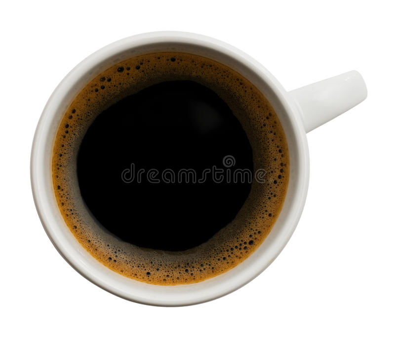 Cup of black coffee. Shot from above, isolated on white (with clipping path stock photo