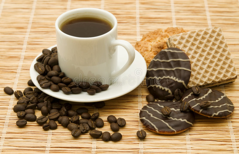 Cup black coffee stock photo