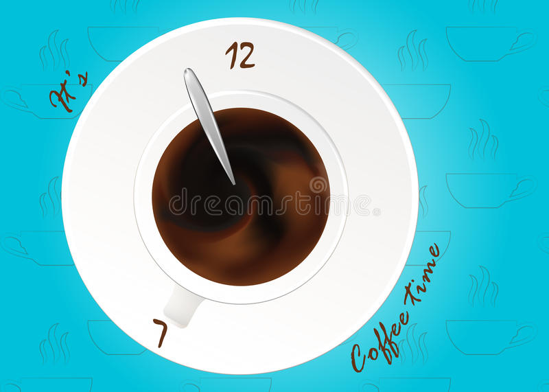 A cup of black coffee or chocolate.Realistic vector on pattern. Concept. Coffee time, watches. A cup of black coffee.Realistic vector, cup of coffee as watches stock illustration