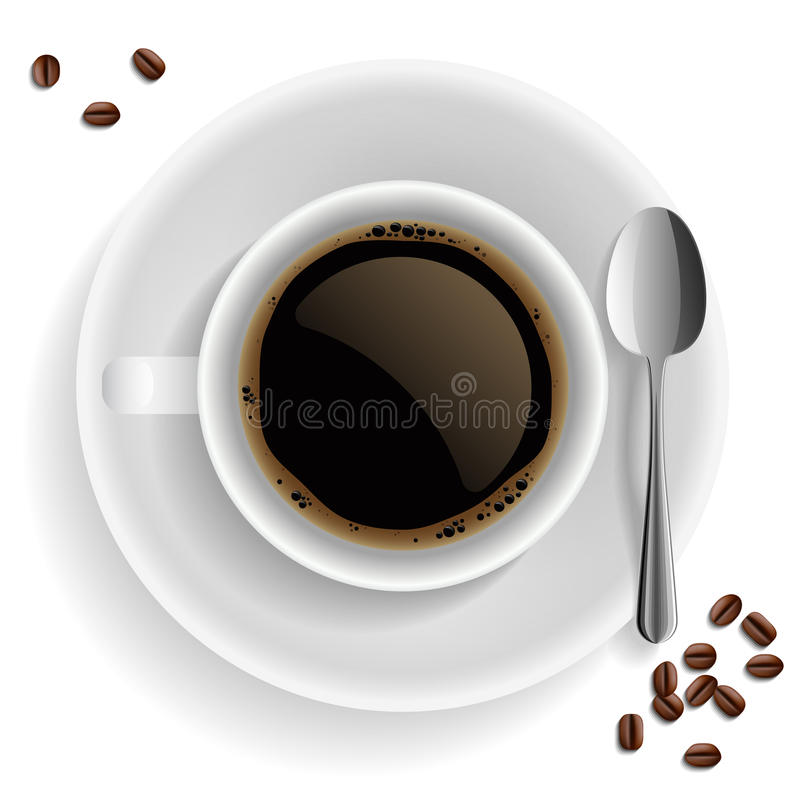 Download Cup Of Black Coffee With Coffee Grain And Spoon. Stock Vector - Image: 23811401