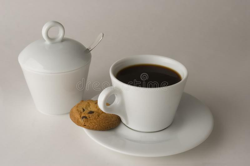 Download Cup Of Black Coffee With Cookies Stock Photo - Image of cookies, bake: 6434894