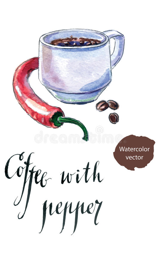 Cup of black coffee with pepper. Hand drawn - watercolor vector Illustration stock illustration