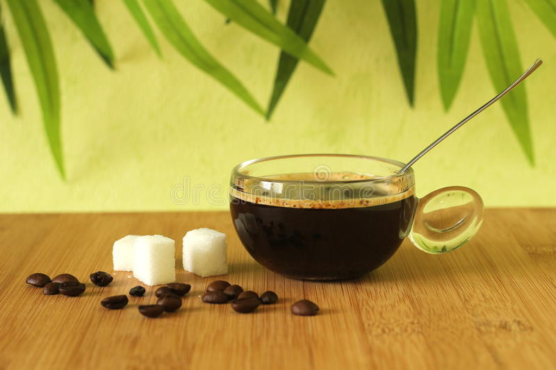 A cup of black coffee placed on a brown bamboo wood floor with pieces of sugar and coffee beans on a green foliage background stock photography