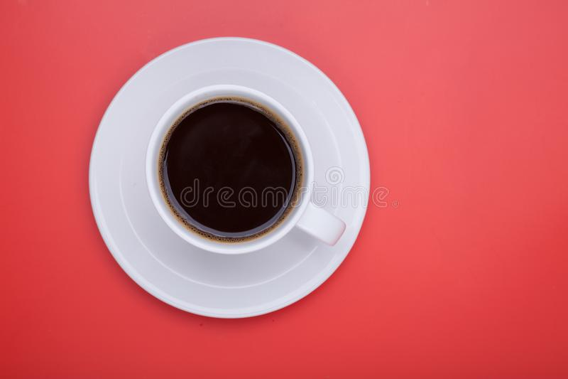Cup of black coffee on table top view, flat lay, mock up. Cup of stock image