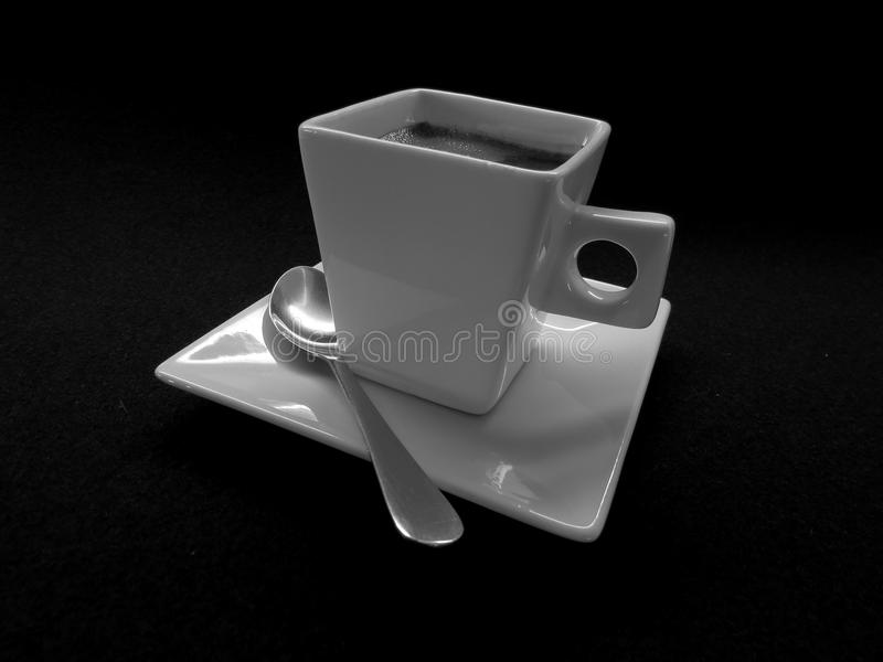 Cup of black coffee. Black and white photo of black Turkish coffee in square white cup with black background , coffee time , caffeine , breakfast , break time stock image