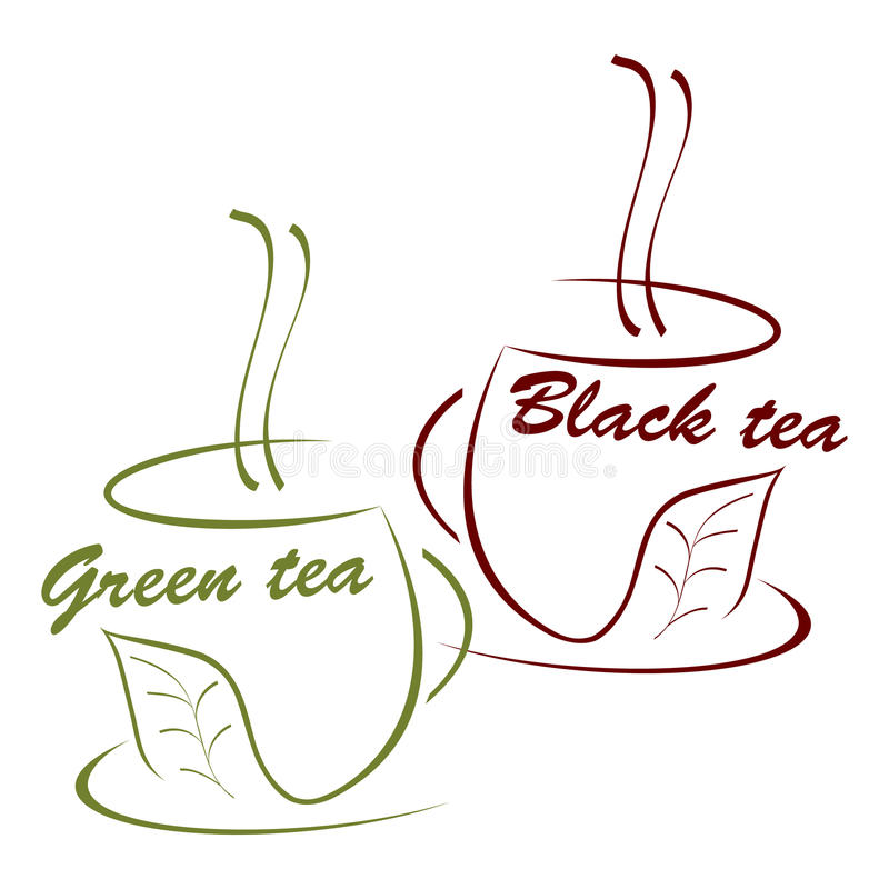 Cup of black and green tea. Illustration vector illustration