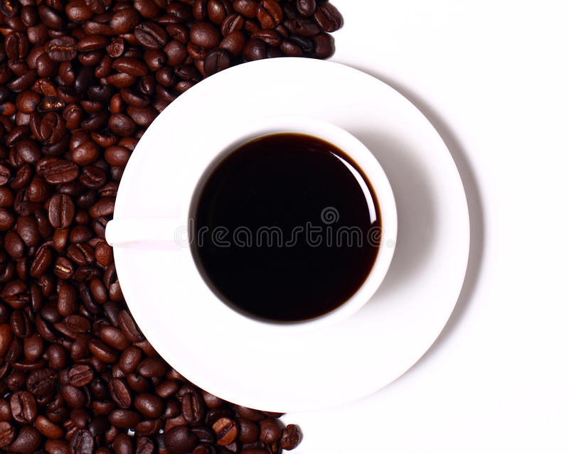 Cup of black hot coffe stock image