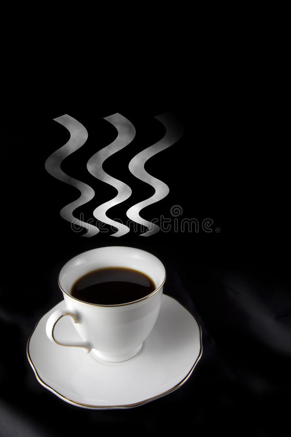 Cup of black hot coffee with steam. Concept of dark hot coffee with steam on black background vector illustration