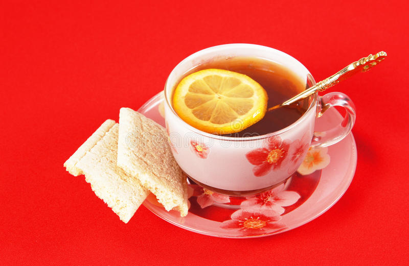 Download Cup Of Black Tea With A Lemon Stock Image - Image: 22312665