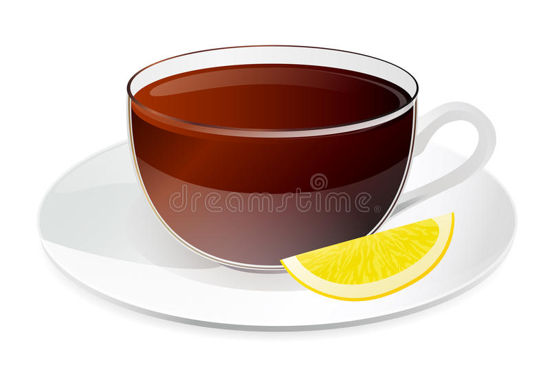Cup of black tea with lemon royalty free stock image
