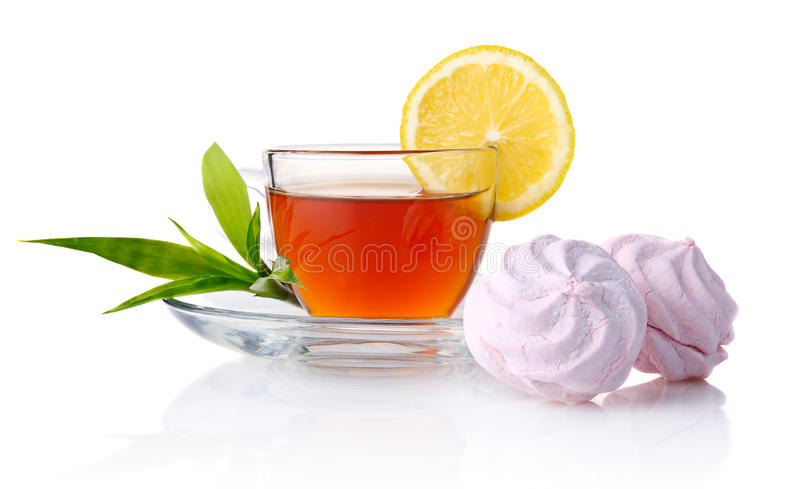 Download Cup Of Black Tea With Lemon, Green Leaves Stock Image - Image: 22963979