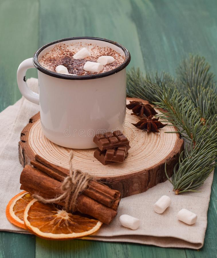 Cup of cacao with marshmallow dark hot chocolate winter Christmas tree stock photo