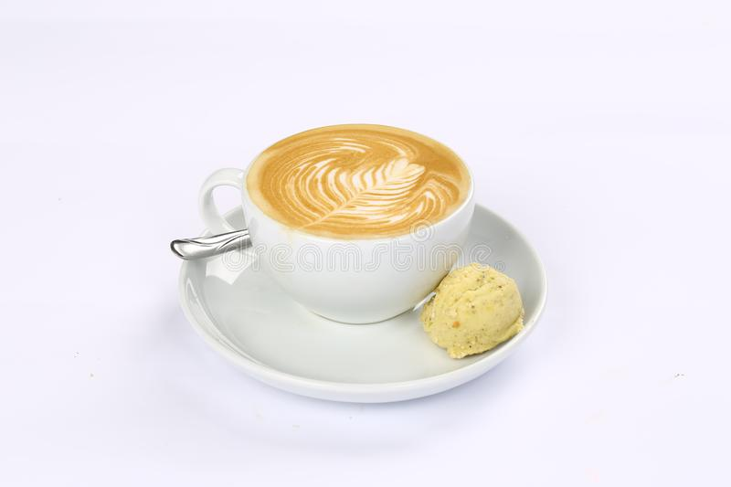 A cup of cafe latte stock image