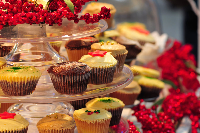 Cup cakes. At a stall in the mall royalty free stock image