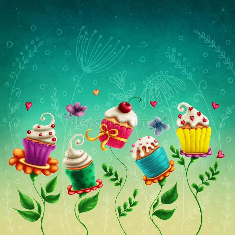 Cup cakes flowers. Illustration with cup cakes flowers vector illustration
