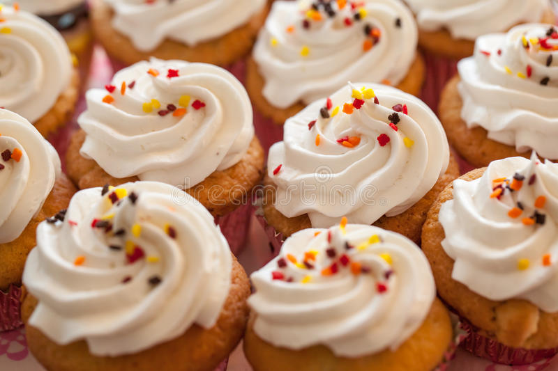 Cup cakes. Set food desert stock images