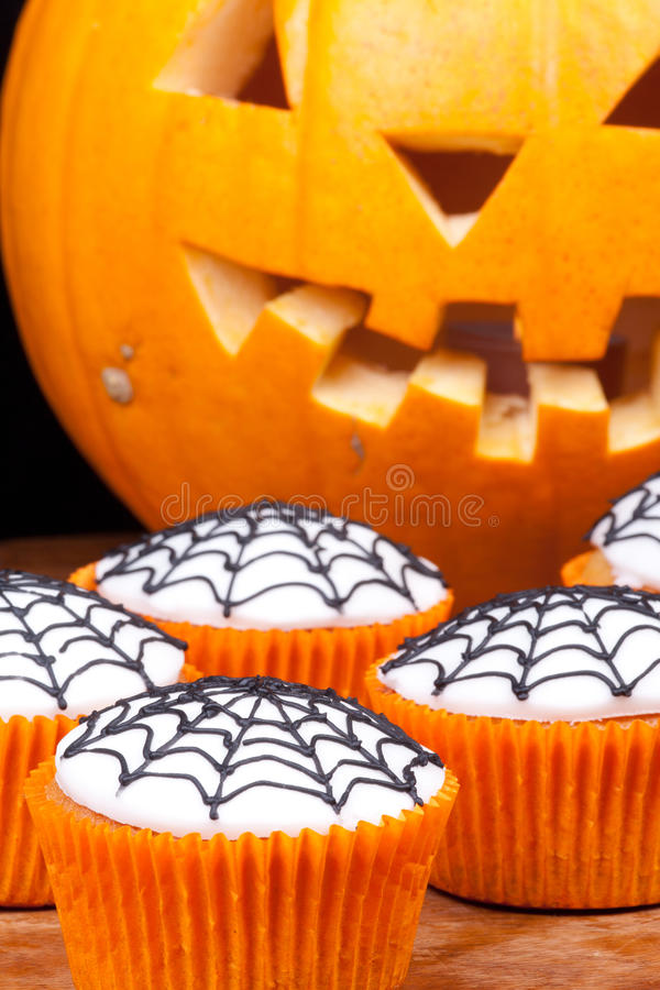Download Cup-cakes with web stock image. Image of halloween, pumpkin - 21558533