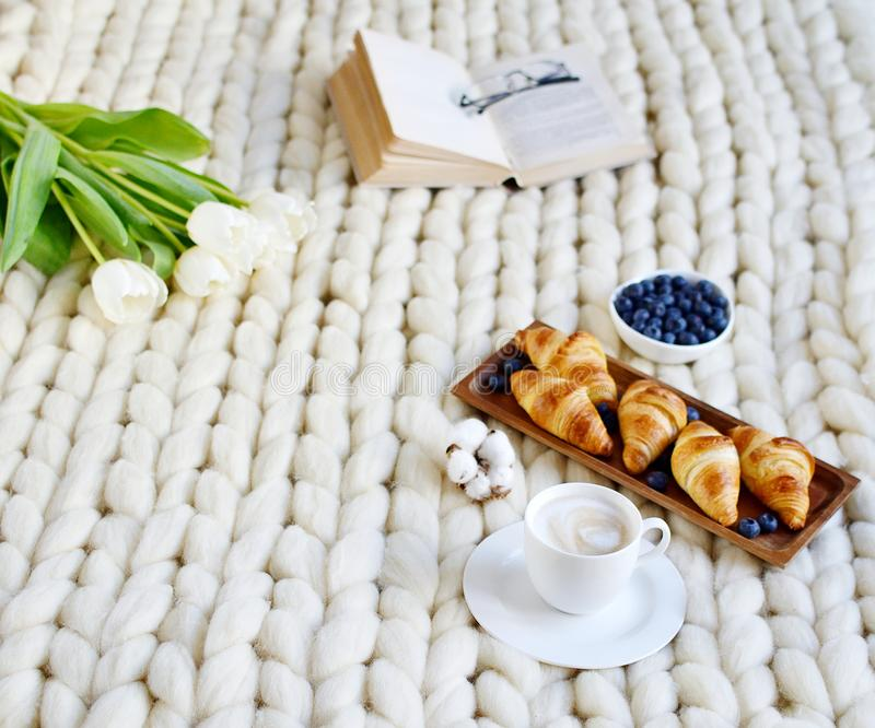 Cup with cappuccino and croissants, berries, white pastel giant knit blanket. Bedroom, flowers tulips, spring, woman day, morning concept stock photography