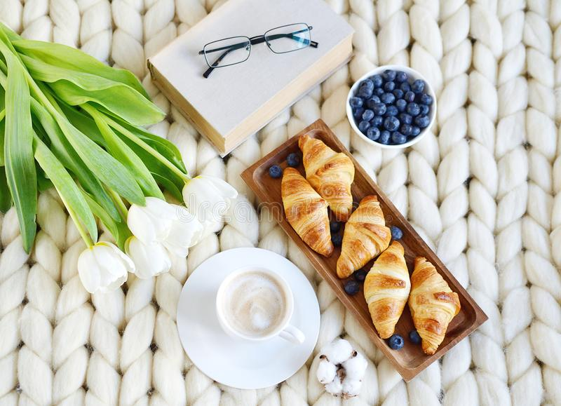 Cup with cappuccino and croissants, berries, white pastel giant knit blanket. Bedroom, flowers tulips, spring, woman day, morning concept royalty free stock photos