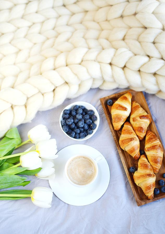 Cup with cappuccino and croissants, berries, white pastel giant knit blanket. Bedroom, flowers tulips, spring, woman day, morning concept stock images
