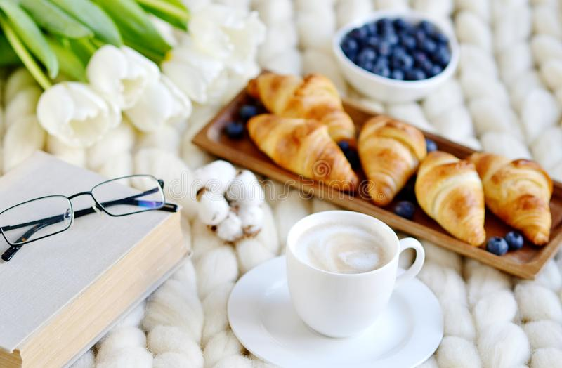 Cup with cappuccino and croissants, berries, white pastel giant knit blanket. Bedroom, flowers tulips, spring, woman day, morning concept stock photo