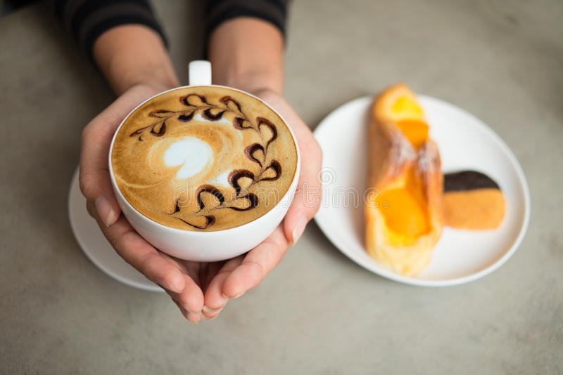 Cup of cappuccino stock image. Image of drink, female ...
