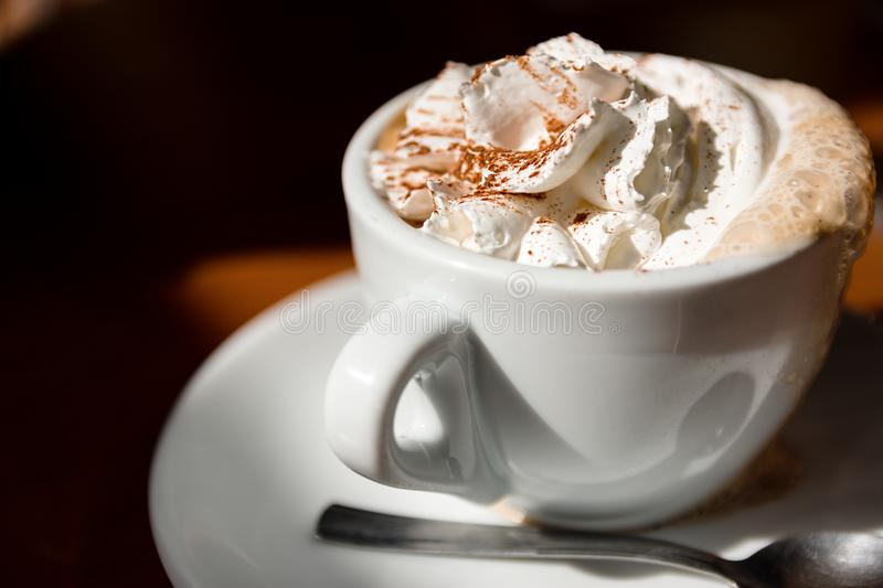 Cup Of Cappuccino With Fresh Whipped Cream And Cinnamon On Top stock images