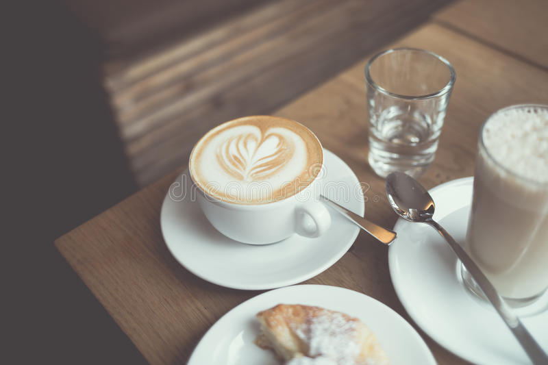 Cup Of Cappuccino Beside Glass Of Water And Glass Of Milk Free Public Domain Cc0 Image