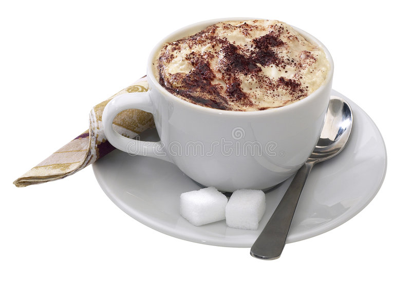 A Cup Of Cappucino. Hand made clipping path included royalty free stock photography