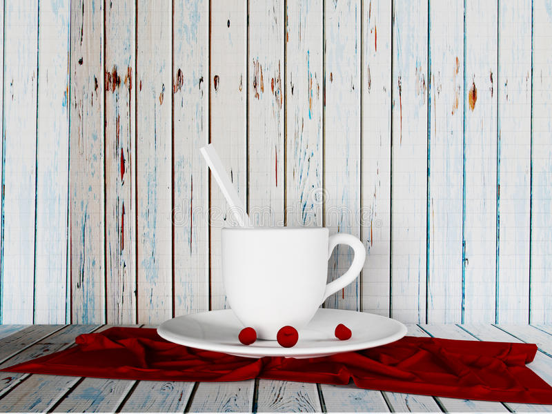 A cup and the cherries on the plate, 3d stock illustration