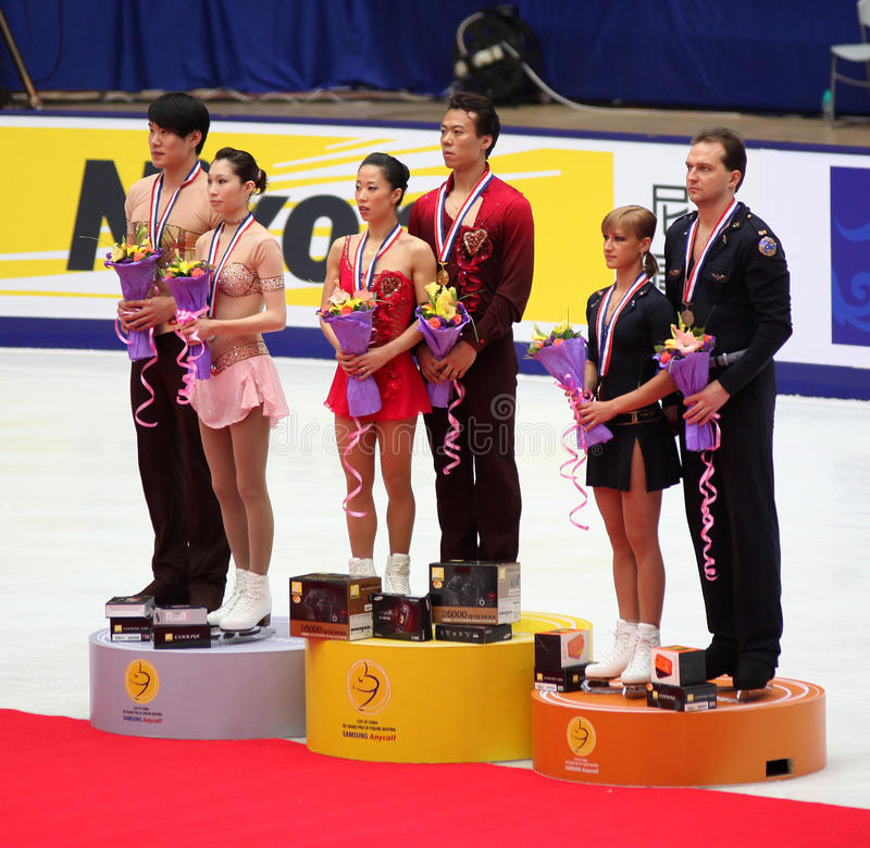 Cup Of China 2009. Pairs Podium - Figure Skating Editorial Stock Image