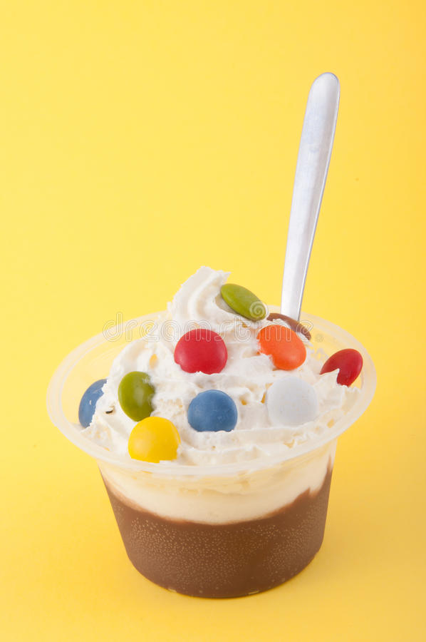 Cup of chocolate with cream stock images
