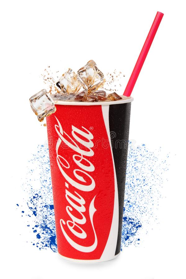 Cup with coca cola stock images