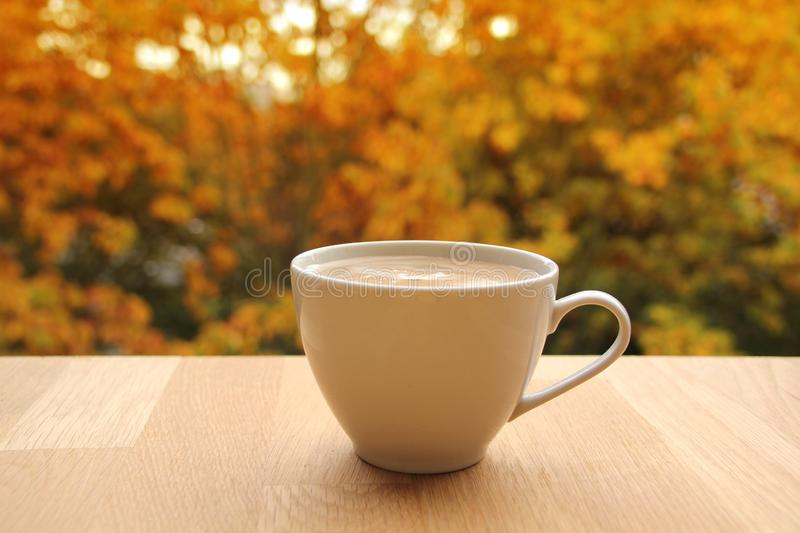Cup of cocoa with milk or cappuccino on a table in the street with a view of yellow and orange trees, concept of autumn mood,. Close-up royalty free stock image