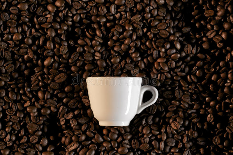 A cup and coffe beans - caffe espresso stock photo