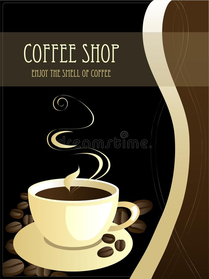 Cup of coffee. Background with cup of coffee and text field vector illustration