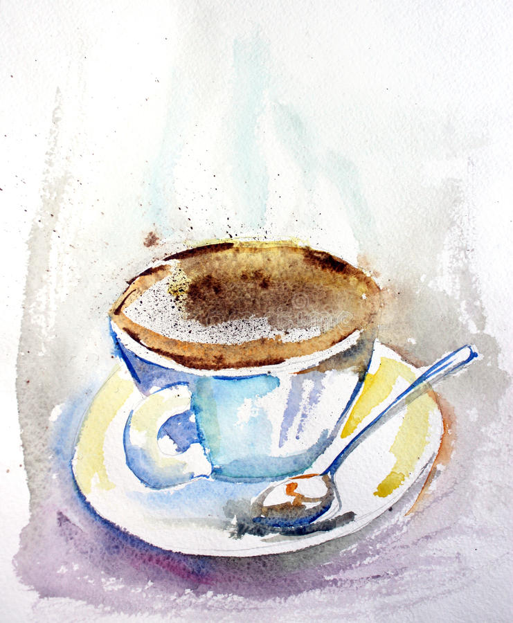 Cup of coffee. Watercolor illustration. Beautiful paper texture vector illustration