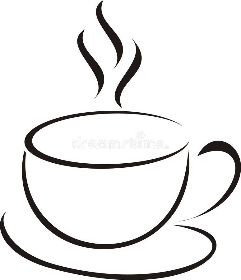 Cup of coffee. Morning cup of coffee with rising steam a vector an illustration