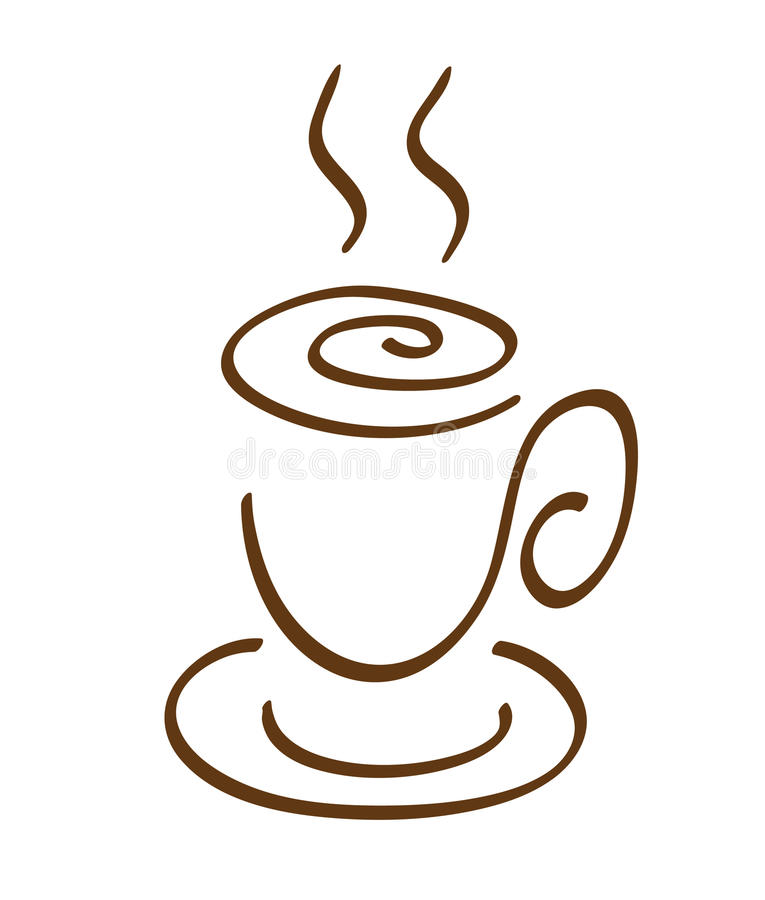 Download Cup of a coffee stock vector. Image of black, swirl, sketch - 16843019