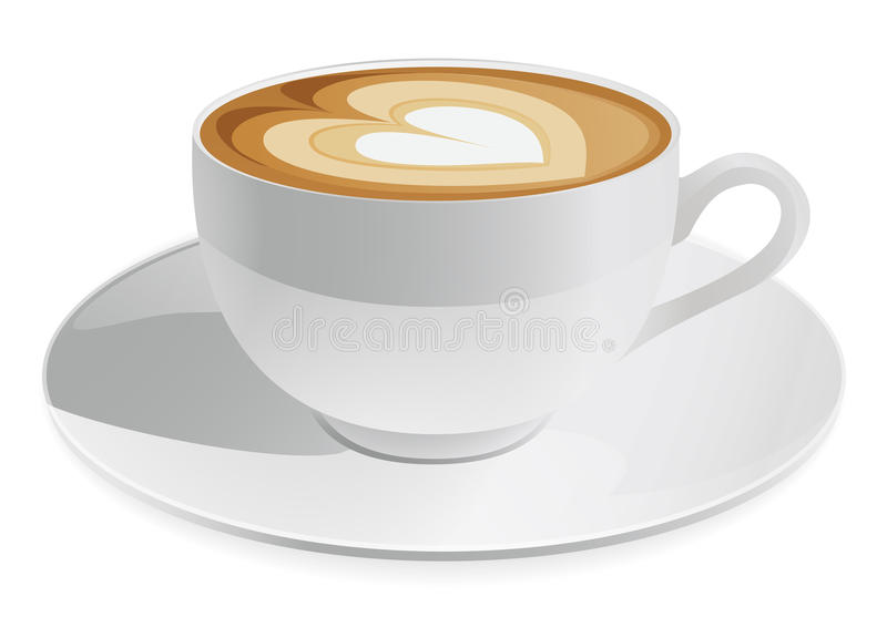 Cup of Coffee. Cup of cappuccino with heart symbol. Coffee. Vector illustration on white background royalty free illustration