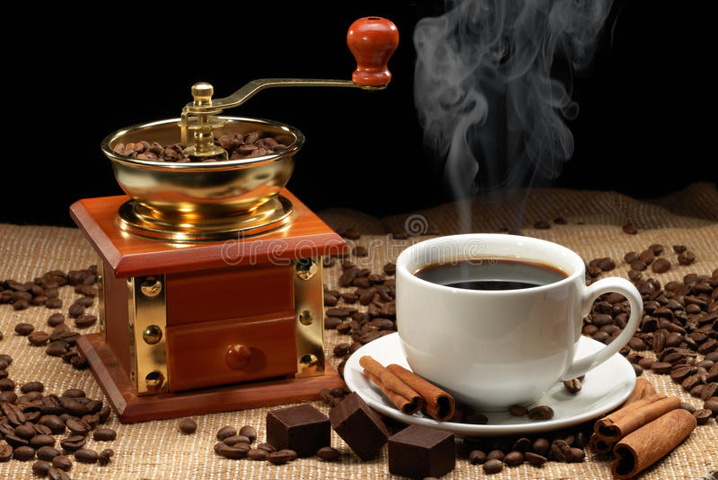 Download Cup of coffee stock photo. Image of grinder, steam, corn - 24669190