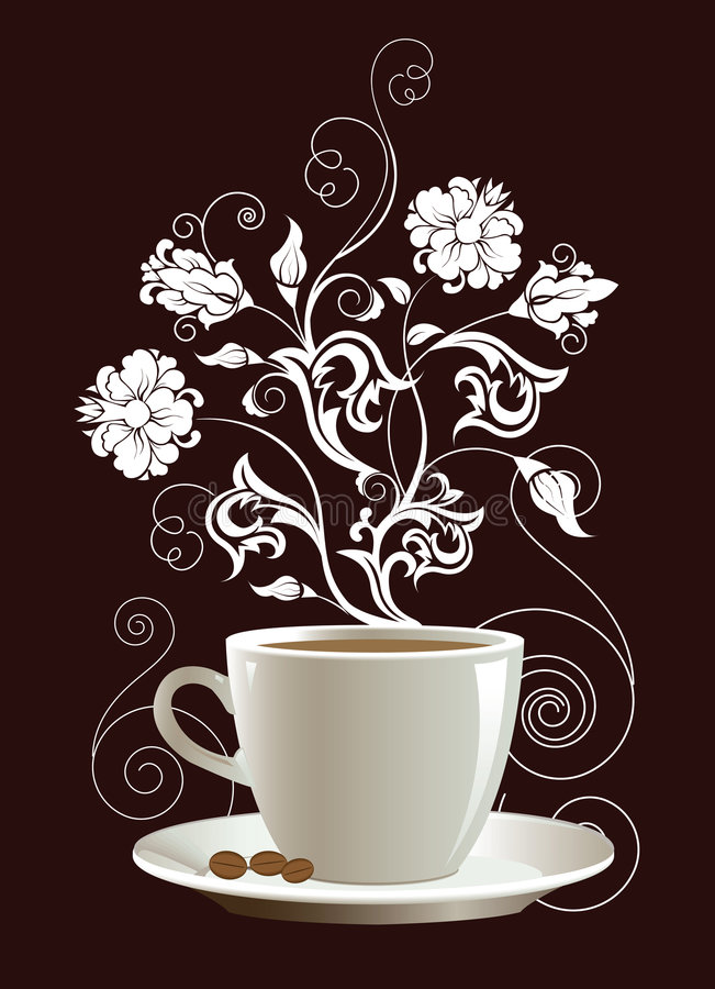 Cup of coffee. With floral design elements. Vector illustration vector illustration