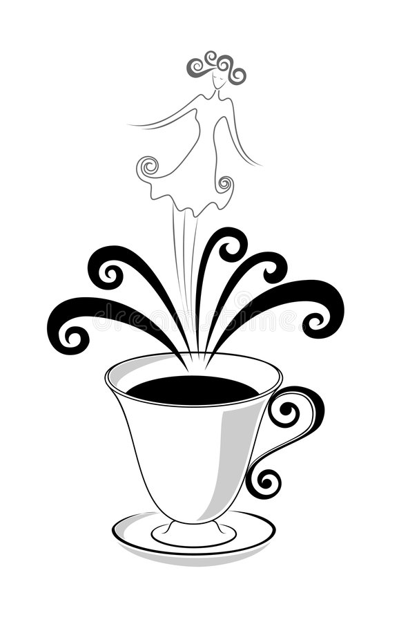 Download Cup of coffee stock vector. Image of coffee, plate, princess - 7981298