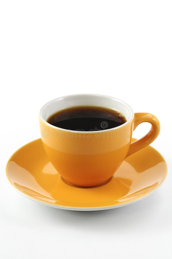 Cup of coffee. Orange cup of coffee isolated on white background royalty free stock photos
