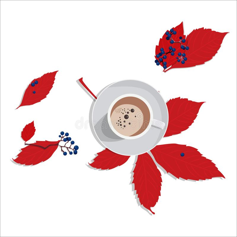 cup of coffee autumn mood wild grape leaves red berries wind art sunny day vector illustration