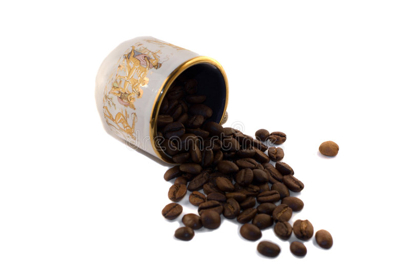 Cup_with_coffee_beans_2 royalty free stock photos