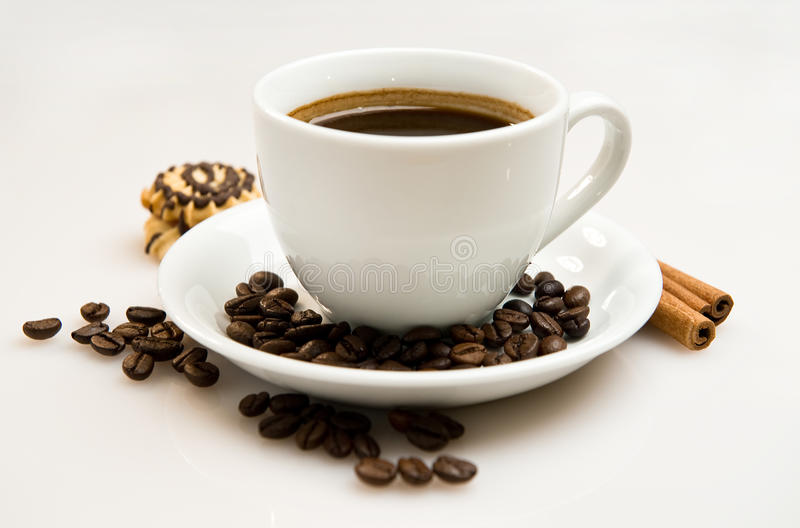 Download Cup Of Coffee With Beans And Cinnamon Sticks Stock Photo - Image: 22977272