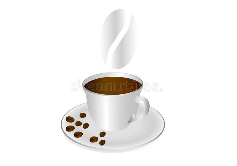 A cup of coffee and coffee beans on a saucer. royalty free illustration
