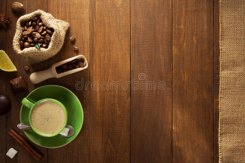 Cup of coffee and beans royalty free stock photography