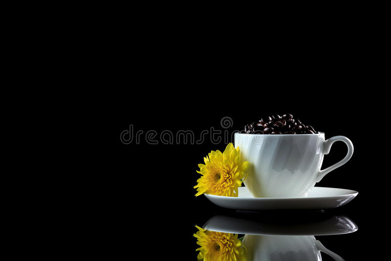 Cup with coffee beans and yellow chrysanthemum on a black reflect. Ive background. Studio shot stock image